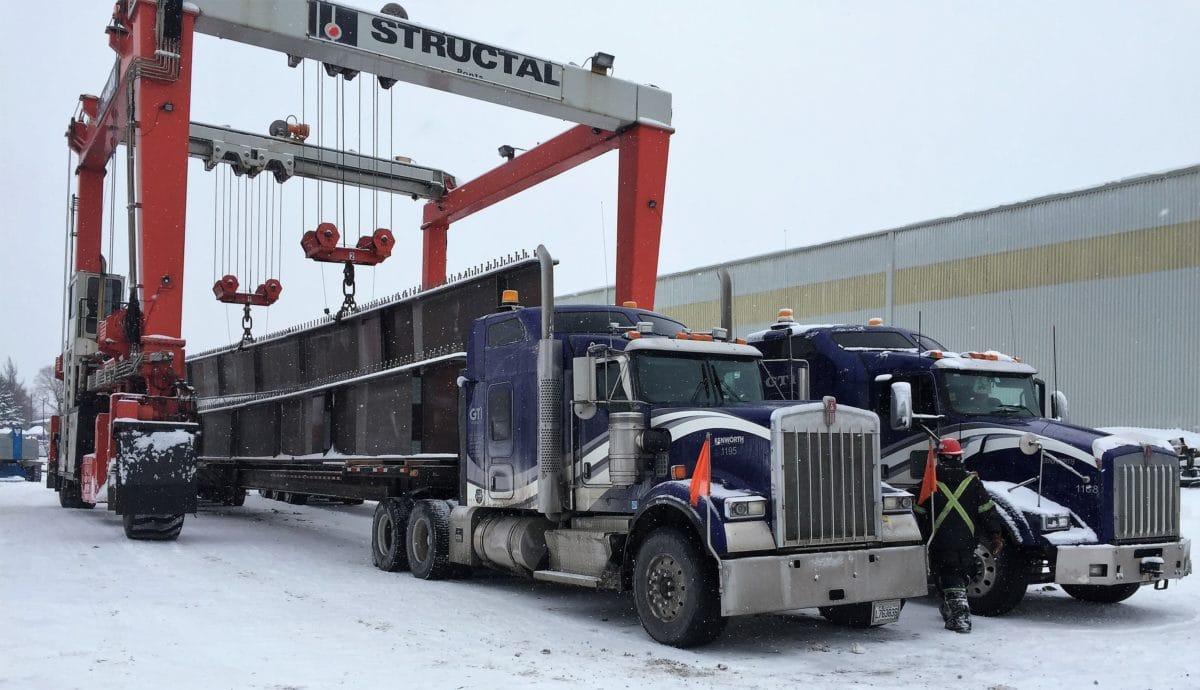 Bridge beams transport by truck