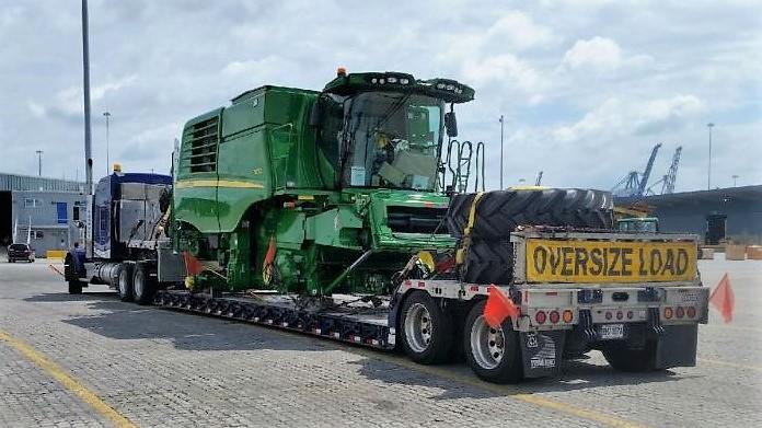 Combine harverster oversize truck transport